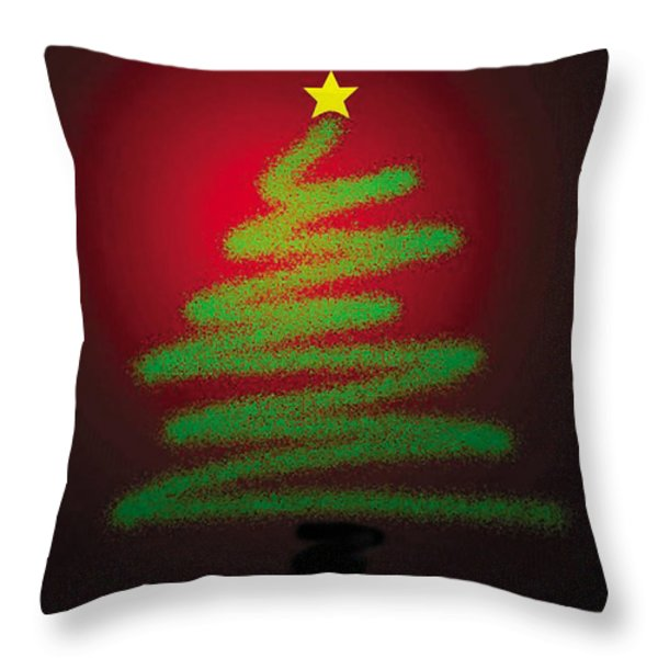 Christmas Tree With Star Throw Pillow by Genevieve Esson