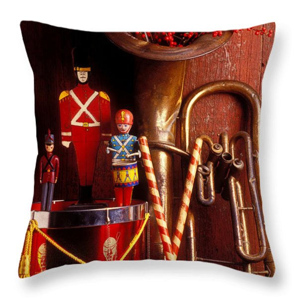 Christmas Tuba Throw Pillow by Garry Gay