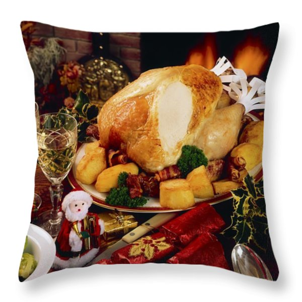 Christmas Turkey Dinner With Wine Throw Pillow by The Irish Image Collection