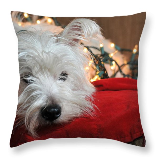 Christmas Westie Throw Pillow by Catherine Reusch  Daley