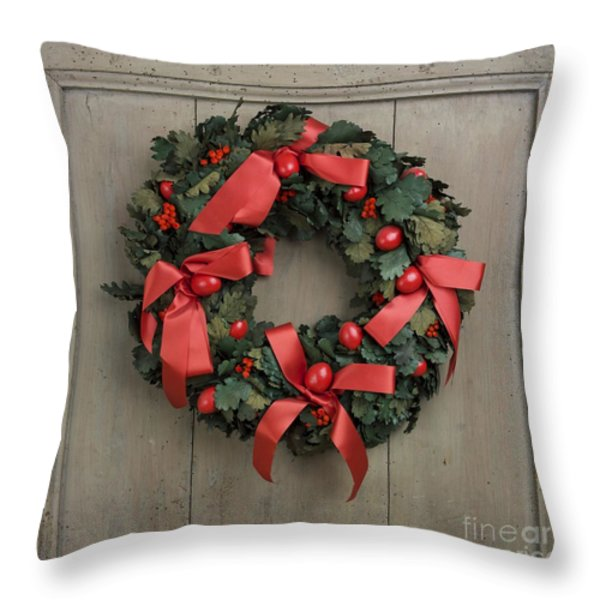 Christmas wreath Throw Pillow by BERNARD JAUBERT