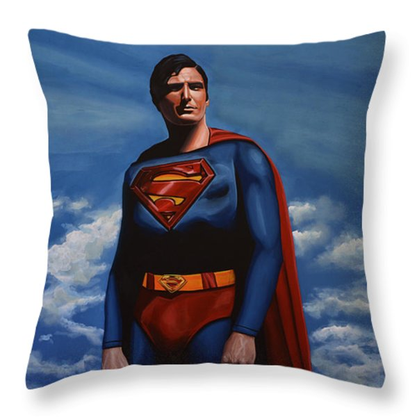 Christopher Reeve as Superman Throw Pillow by Paul  Meijering