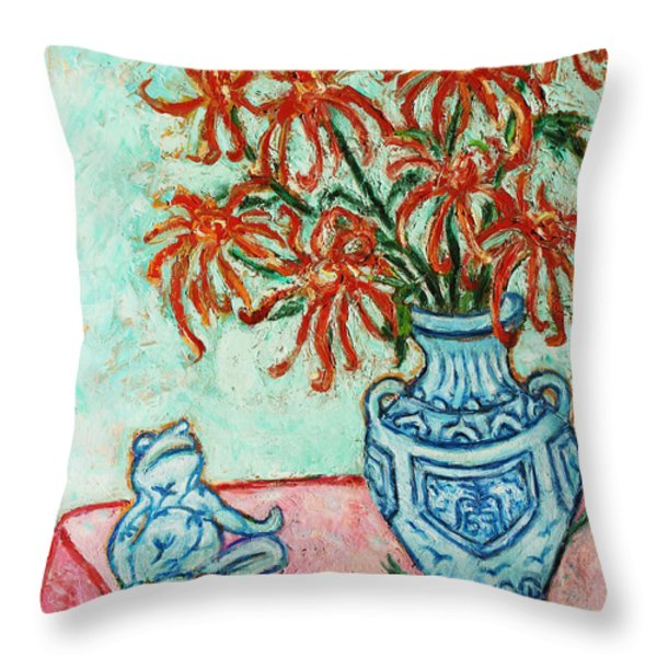 Chrysanthemum and Frog Throw Pillow by Xueling Zou