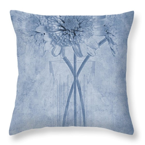 Chrysanthemum Cyanotype Throw Pillow by John Edwards
