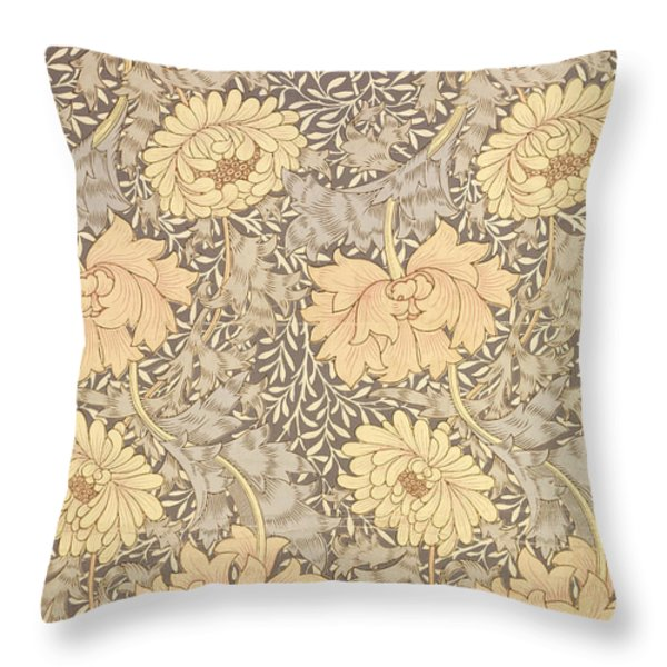 Chrysanthemum Throw Pillow by William Morris