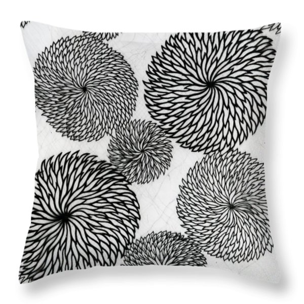 Chrysanthemums Throw Pillow by Japanese School