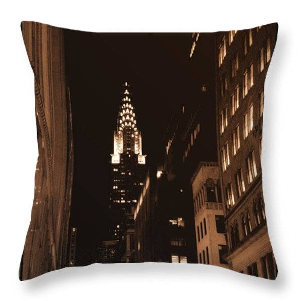 Chrysler Building Throw Pillow by Donna Blackhall