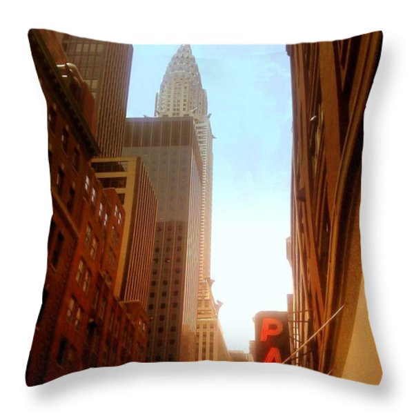 Chrysler Building Rises Above New York City Canyons Throw Pillow by Miriam Danar