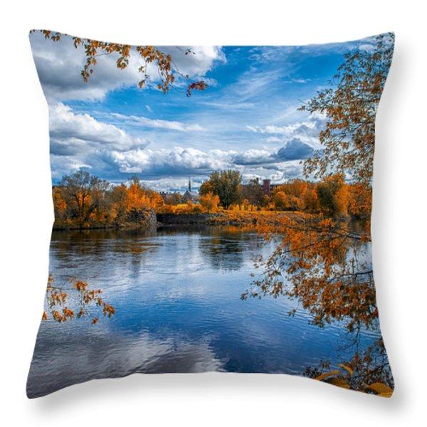Church Across The River Throw Pillow by Bob Orsillo