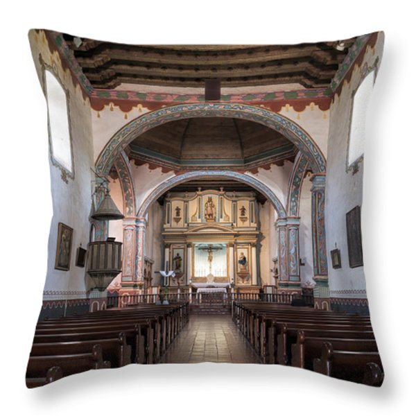 Church At Mission San Luis Rey Throw Pillow by Sandra Bronstein