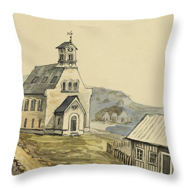 Church at Rejkjavik Iceland 1862 Throw Pillow by Aged Pixel