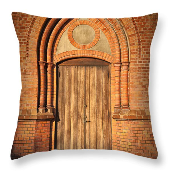 Church Door Helsingborg Throw Pillow by Antony McAulay