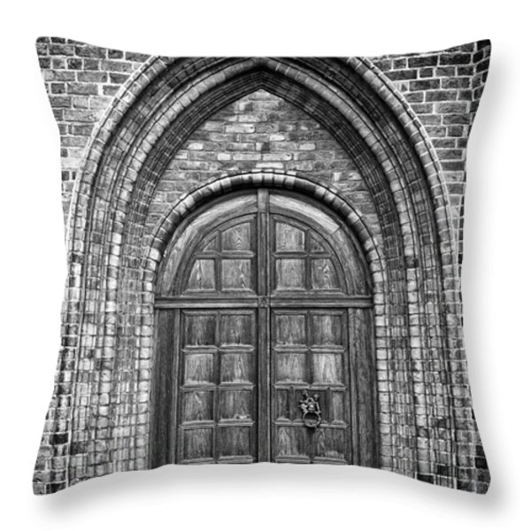 Church Door Monochromatic Throw Pillow by Antony McAulay
