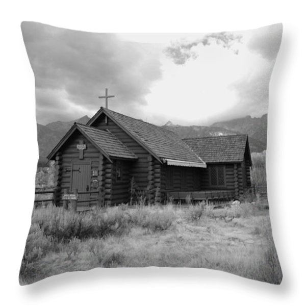 Church In Black And White Throw Pillow by Kathleen Struckle