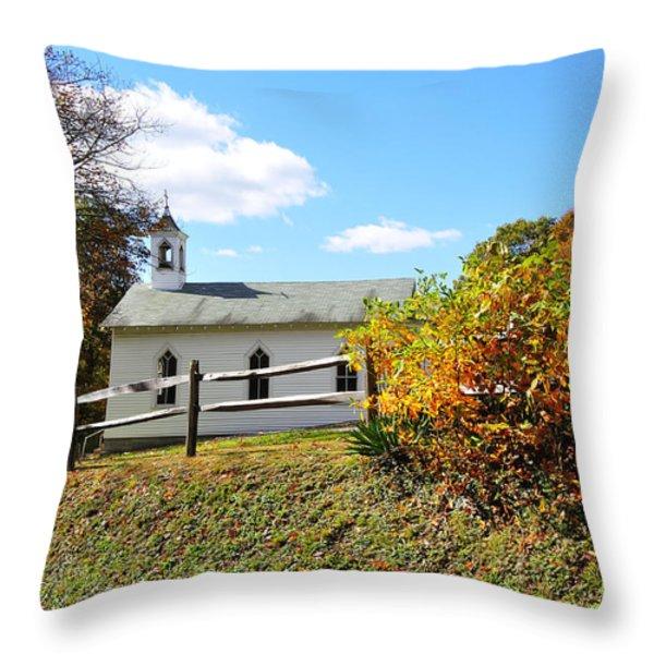 Church On The Mountain Throw Pillow by Thomas R Fletcher