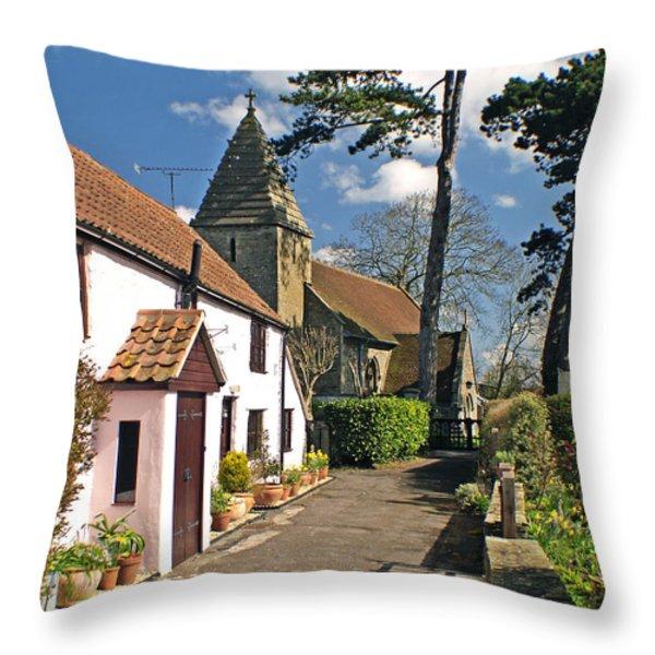 Church Path - Kenn - Somerset Throw Pillow by Robert Down
