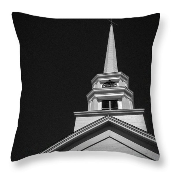 Church Steeple Stowe Vermont Throw Pillow by Edward Fielding