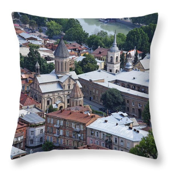 Churches By The Mtkvari River In Tbilisi Throw Pillow by Robert Preston
