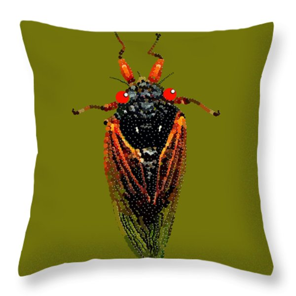 Cicada In Green Throw Pillow by R  Allen Swezey