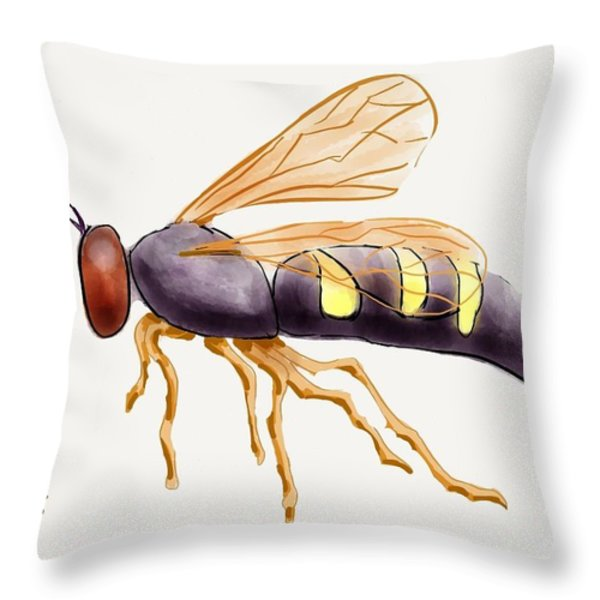 Cicada Killer Wasp Throw Pillow by Stacy C Bottoms