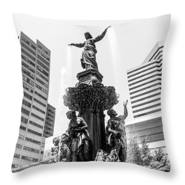 Cincinnati Fountain Black And White Picture Throw Pillow by Paul Velgos