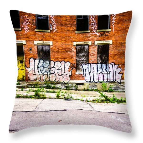 Cincinnati Glencoe Auburn Place Graffiti Photo Throw Pillow by Paul Velgos