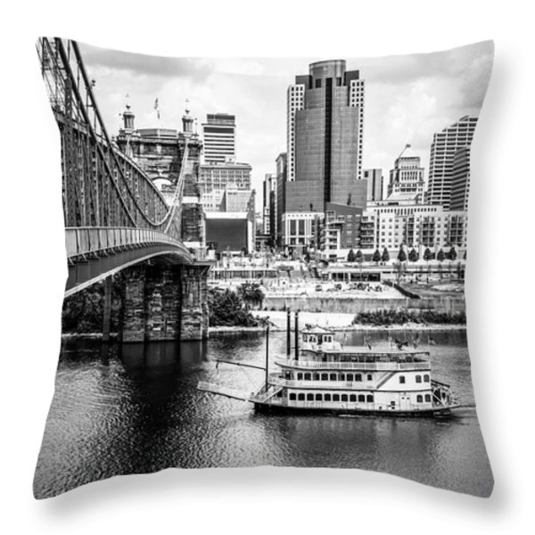 Cincinnati Riverfront Black And White Picture Throw Pillow by Paul Velgos