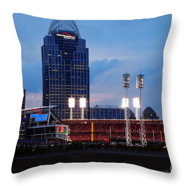 Cincinnati Skyline Throw Pillow by Deborah Fay