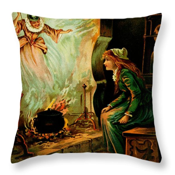 Cinderella And The Fairy Godmother Throw Pillow by Mother Goose