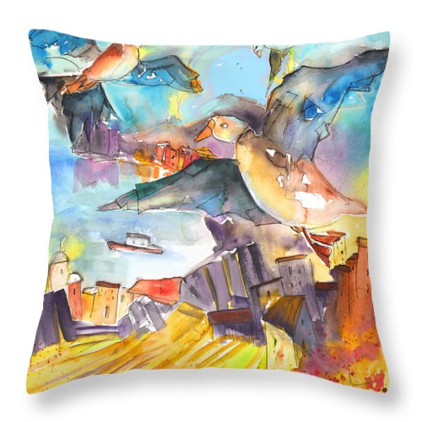 Cinque Terre 05 Throw Pillow by Miki De Goodaboom