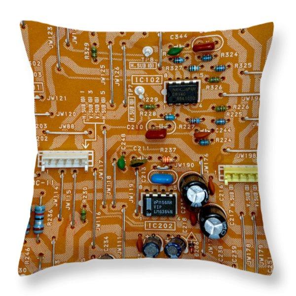 Circiruit Board Macro Throw Pillow by Amy Cicconi