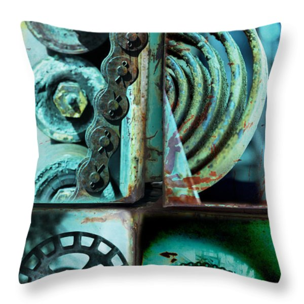 Circle Collage In Blue Throw Pillow by Fran Riley