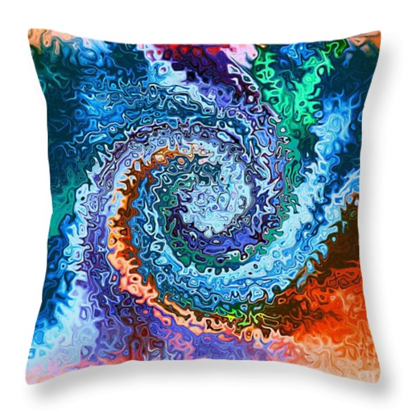 Circle Of Colors Abstract Art Throw Pillow by Annie Zeno