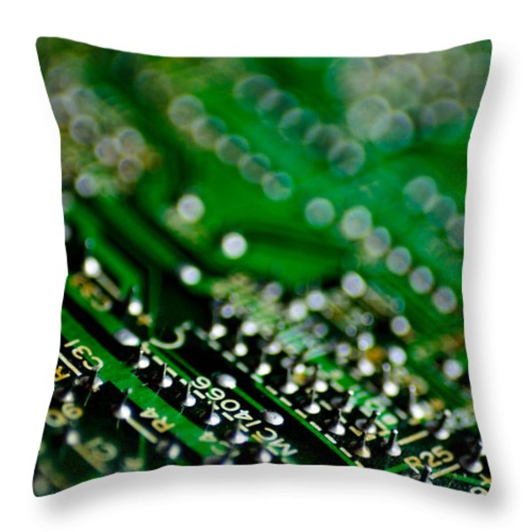 Circuit Board Bokeh Throw Pillow by Amy Cicconi