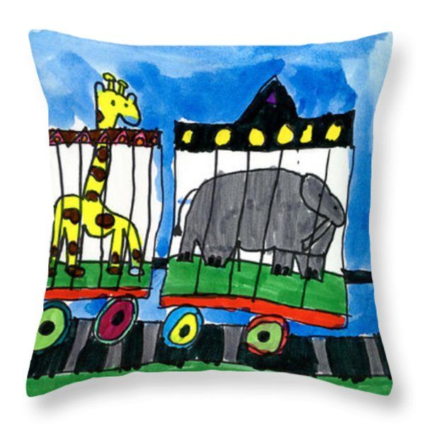 Circus Train Throw Pillow by Max Kaderabek Age Eight