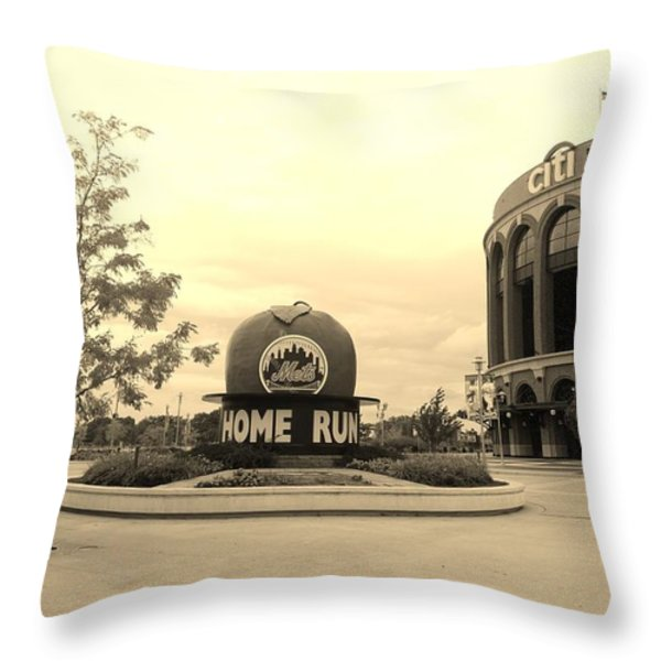 Citi Field In Sepia Throw Pillow by Rob Hans
