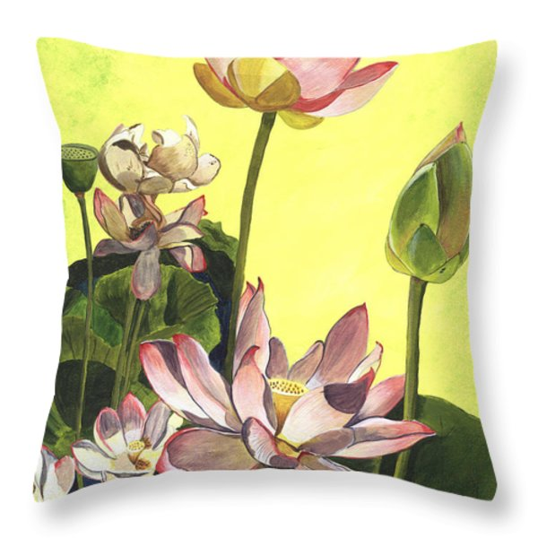 Citron Lotus 1 Throw Pillow by Debbie DeWitt