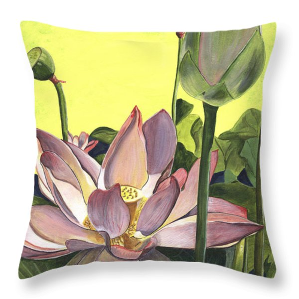 Citron Lotus 2 Throw Pillow by Debbie DeWitt