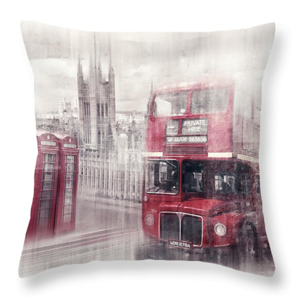 City-art London Westminster Collage II Throw Pillow by Melanie Viola