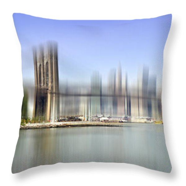 City-art Manhattan Skyline I Throw Pillow by Melanie Viola