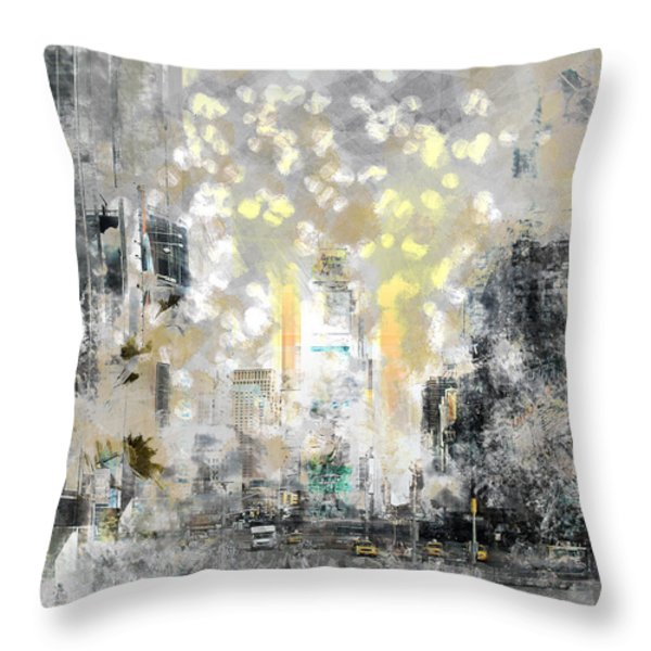 City-art Manhattan Sunflower Throw Pillow by Melanie Viola