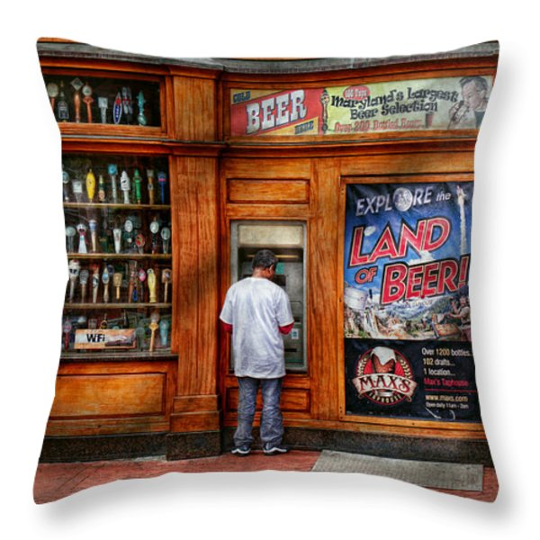 City - Baltimore Md - Explore The Land Of Beer  Throw Pillow by Mike Savad