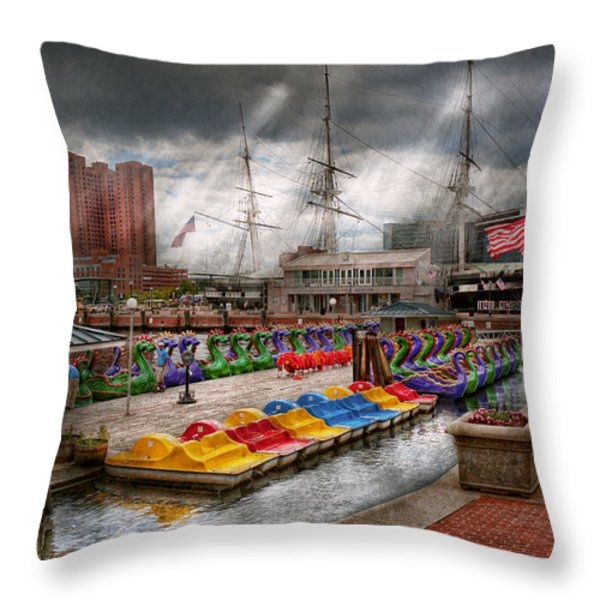 City - Baltimore MD - Modern Maryland Throw Pillow by Mike Savad
