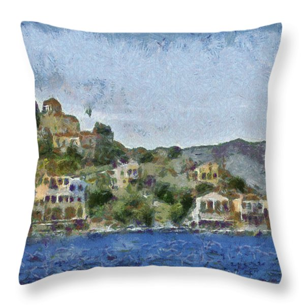 City by the Sea Throw Pillow by Ayse Deniz