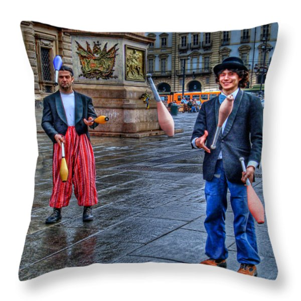 City Jugglers Throw Pillow by Ron Shoshani