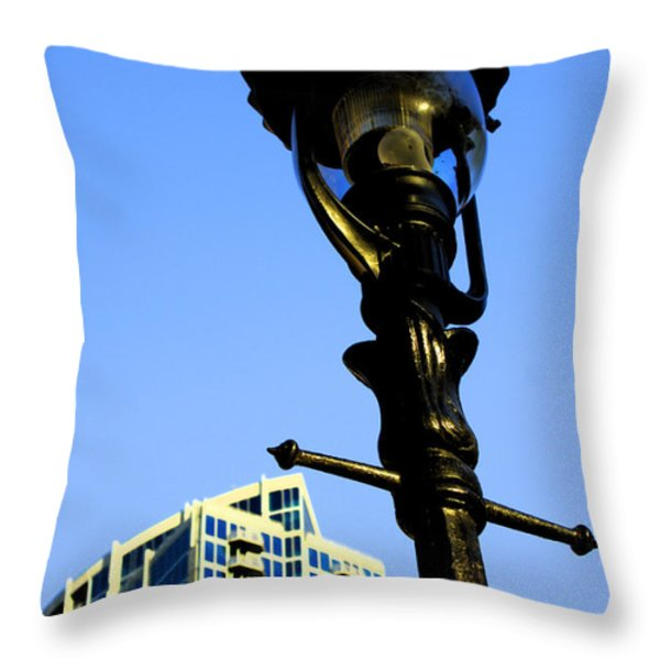 City Lamp Post Throw Pillow by Karol  Livote