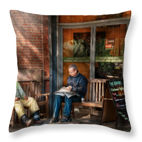 City - New York - Greenwich Village - The path cafe  Throw Pillow by Mike Savad