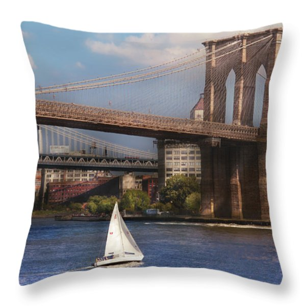 City - NY - Sailing under the Brooklyn Bridge Throw Pillow by Mike Savad
