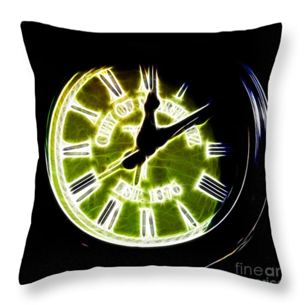 City of Martinez California Town Clock - 5D20862 - Electric Throw Pillow by Wingsdomain Art and Photography