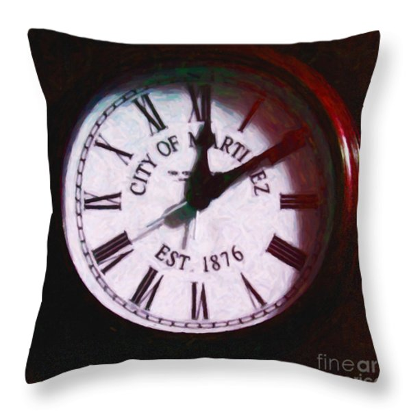 City Of Martinez California Town Clock - 5d20862 - Painterly Throw Pillow by Wingsdomain Art and Photography